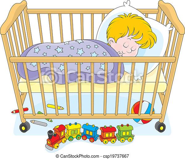 Kind Eingeschlafen Junge Wenig Seine Schläft Schalfzimmer