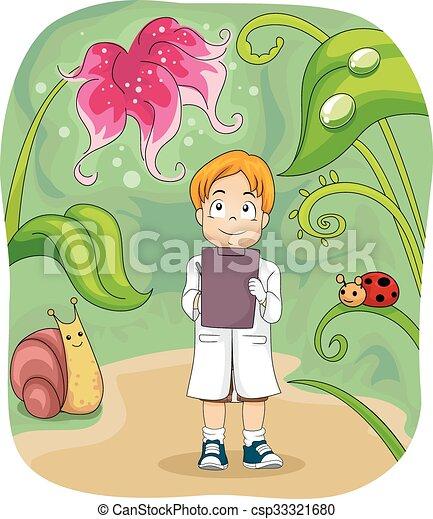 kind, junge, biologie, studieren, notizen - csp33321680