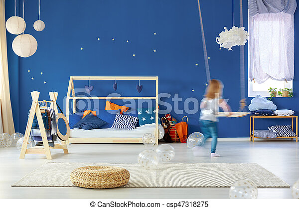 Slaapkamer Lamp Kind : Kind schommel slaapkamer blauwe houten kind bed rattan