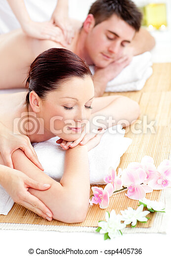 Kind young couple receiving a back massage - csp4405736