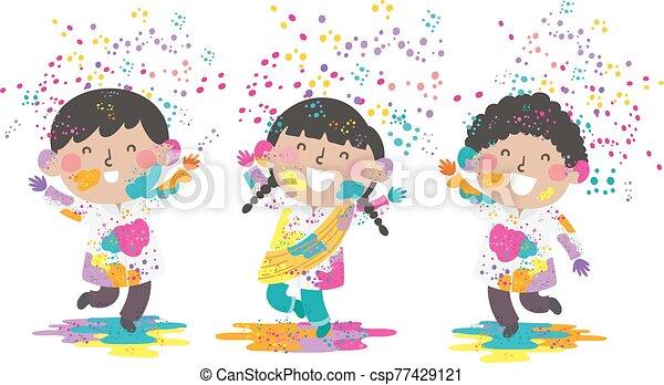 kinder, abbildung, indische , holi, pulver - csp77429121