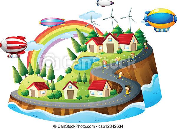 Ein Blick auf das Dorf mit Kindern - csp12842634