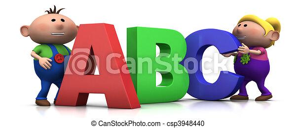 kinder, briefe, abc - csp3948440