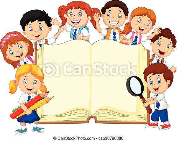 kinder, buch, karikatur, schule - csp30790386