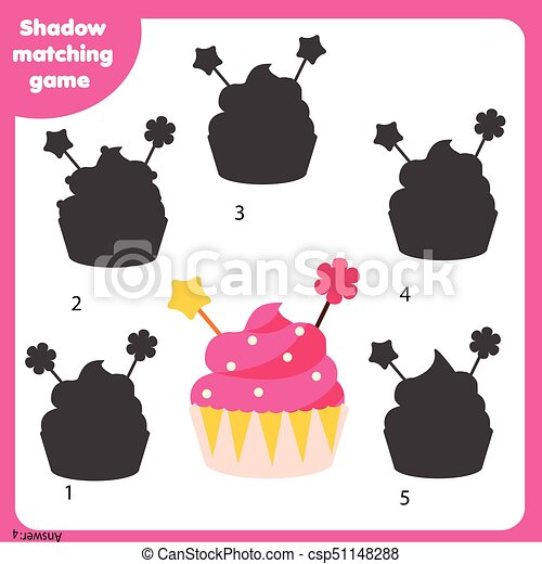 Kinder, game., cupcake, aktivität, schatten, passend. Passend, recht ...