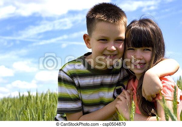 kinder, glücklich - csp0504870