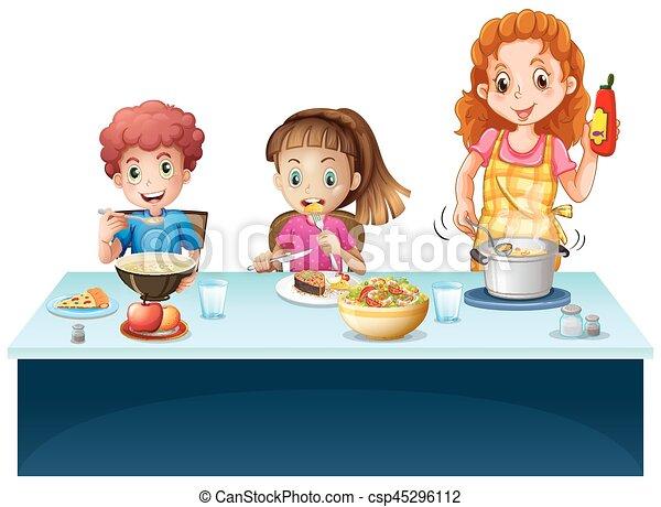 Kinder Haben Essen Mutter Tisch Mahlzeit Kinder Abbildung