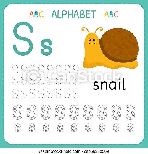 Kinder, kindergarten., alphabet, üben, schreibende, arbeitsblatt, s ...