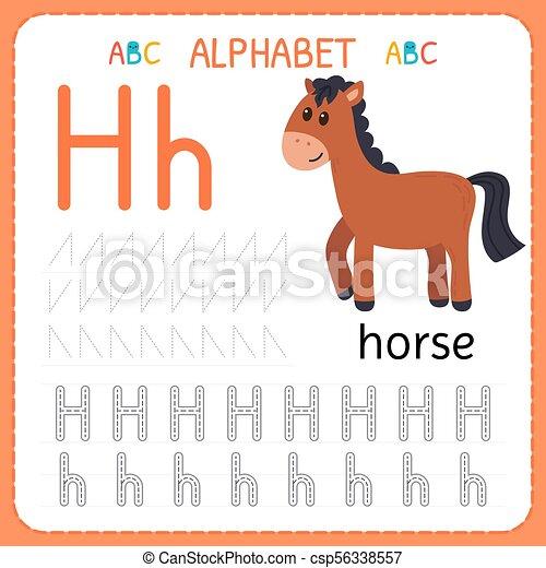 Kinder, kindergarten., alphabet, üben, schreibende, arbeitsblatt, h ...