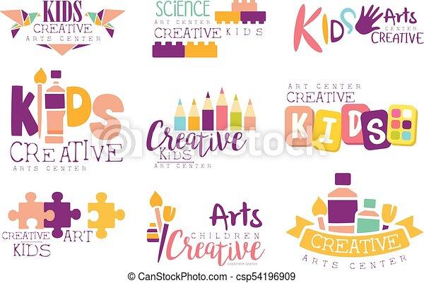 Kinder Kunst Wissenschaft Kreativ Symbole Satz Kreativität Schablone Logo Origami Fördernd Gemälde Klasse