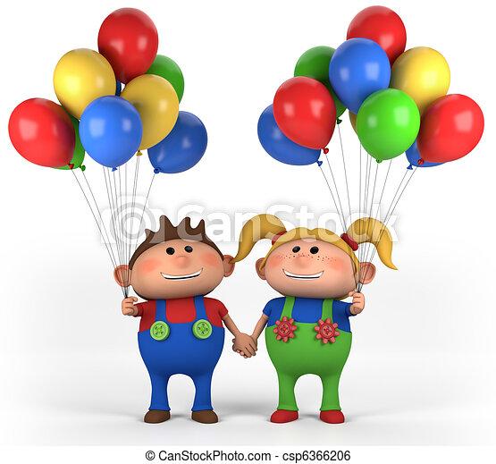 kinder, luftballone - csp6366206