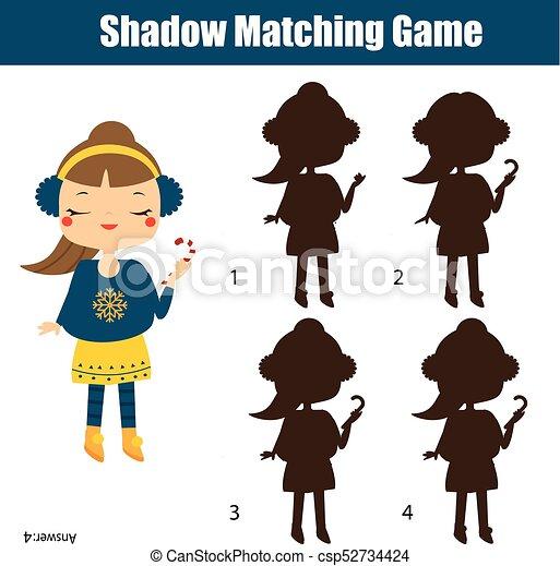 Kinder, schatten, game., aktivität, zuckerl, passend, thema, besitz ...