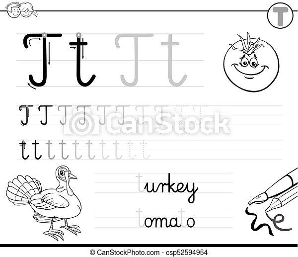 Kinder, schreiben, t, brief, lernen, arbeitsbuch. Färbung ...