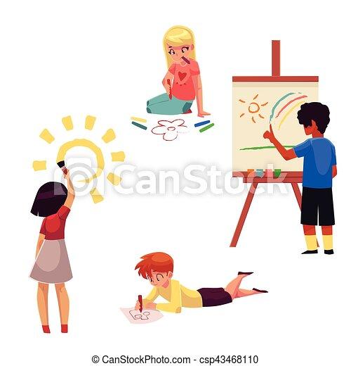 Kinder, sitzen, farben, buntstifte, zeichnung, bleistifte,... Vektor ...