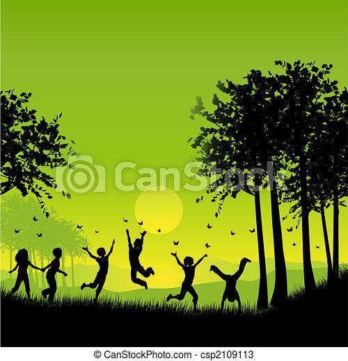 Kinder spielen - csp2109113
