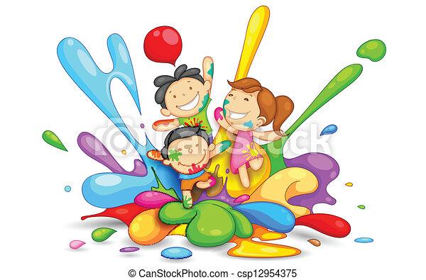 Kinder spielen Holi - csp12954375