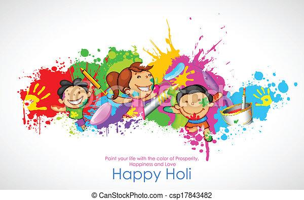 Kinder spielen Holi - csp17843482