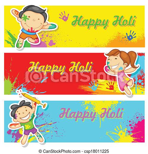 Kinder spielen Holi - csp18011225
