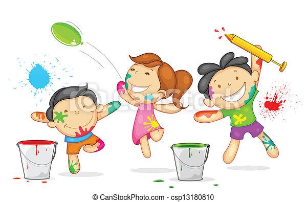 Kinder spielen Holi - csp13180810