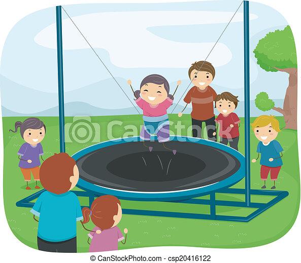 kinder, spielende , trampolin - csp20416122