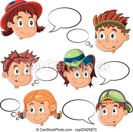 Kinder, sprechblase, gesichter. Kinder, blasen, vektor ...