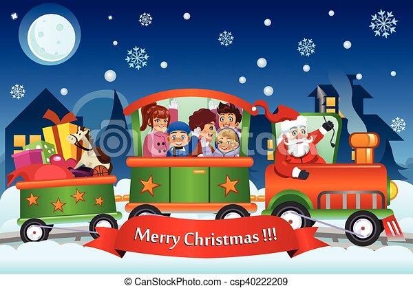 kinder tragen claus geschenke zug santa weihnachten. Black Bedroom Furniture Sets. Home Design Ideas
