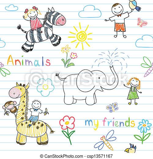 kinderen, dieren, seamless, achtergrond, vrolijke  - csp13571167