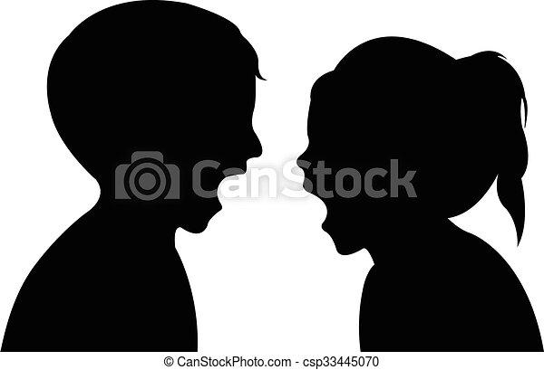 kinderen, gek, silhouette - csp33445070