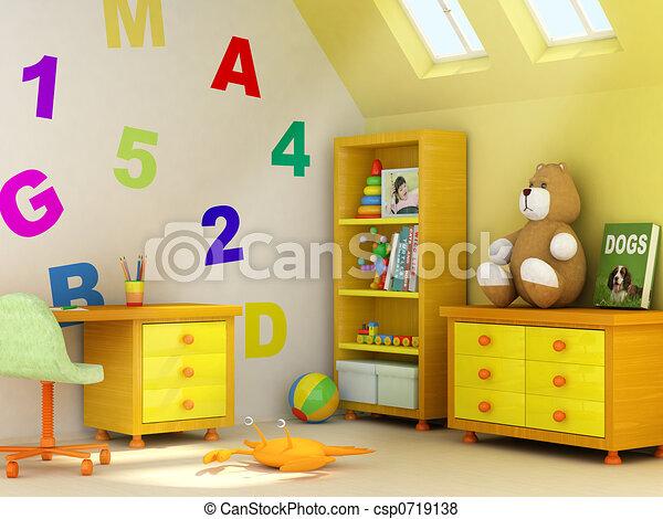Kinderen kamer afbeelding eigen kamer boek muur vertolking