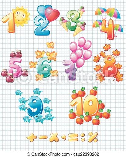 kinderen, kleurrijke, getallen - csp22393282