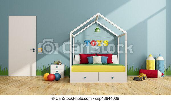 Kinderen, kleurrijke, slaapkamer. Deur, kleurrijke, slaapkamer ...