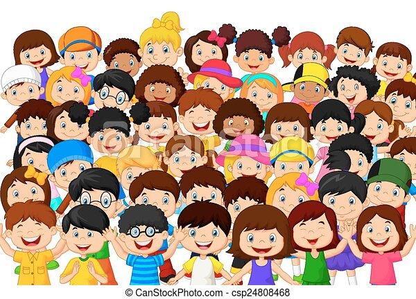 kinderen, menigte, spotprent - csp24808468