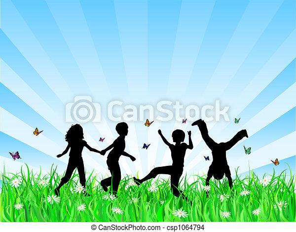 kinderen spelende - csp1064794
