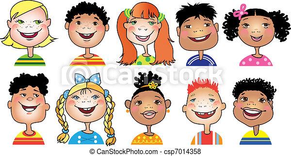 kinderen, spotprent - csp7014358