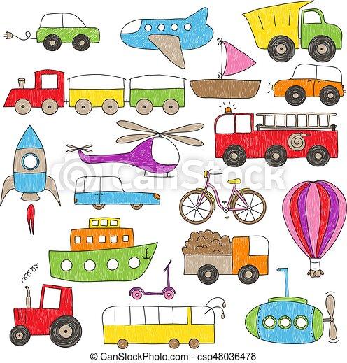 kinderen, stijl, speelbal, tekening, voertuigen - csp48036478