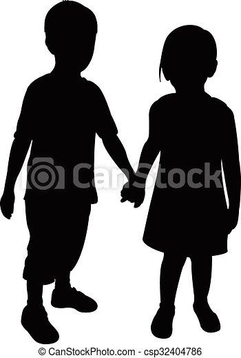 kinderen, twee, silhouette - csp32404786