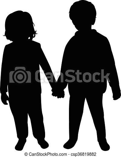 kinderen, twee, silhouette - csp36819882