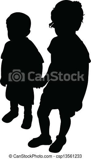 kinderen, twee, silhouette - csp13561233