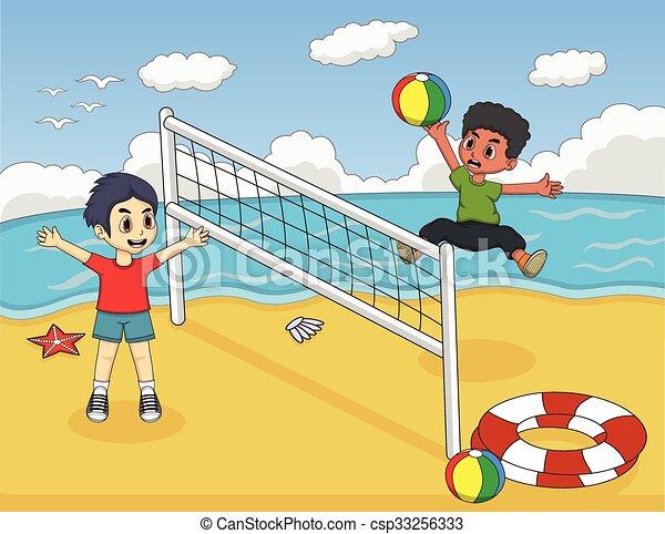 kinderen  volleybal  spelend illustratie  kinderen beach volleyball clipart free Volleyball Clip Art