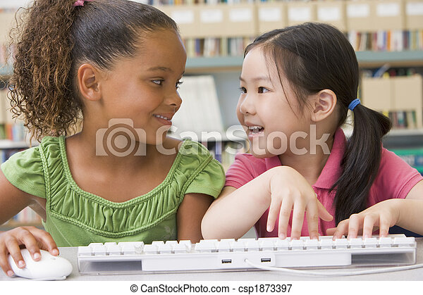 Kindergarten children using computer - csp1873397