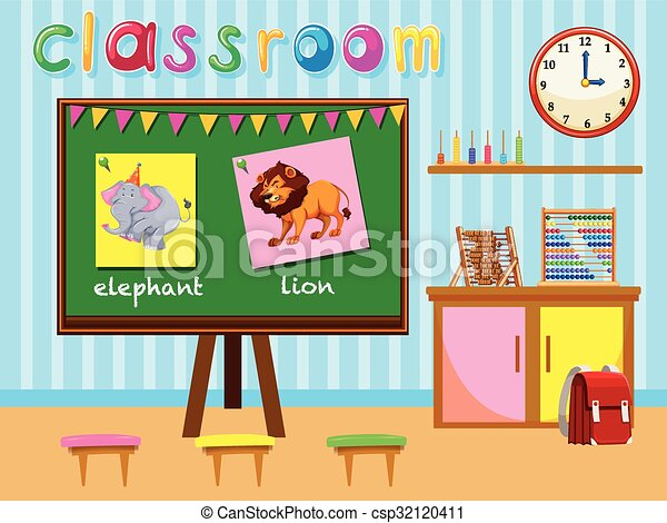 Kindergarten Classroom With Board And Chairs Illustration