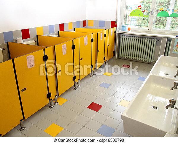 Kindergarten, klein, badezimmer, kinder. Badezimmer,... Stockfotos ...