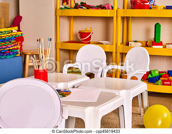 Kindergarten Tables And Chairs In Interior Decoration Shelves For