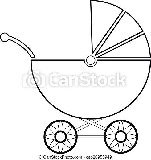 illustration achtergrond vector witte kinderwagen