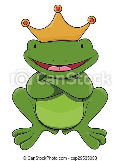 King frog cartoon illustration  - csp29535033