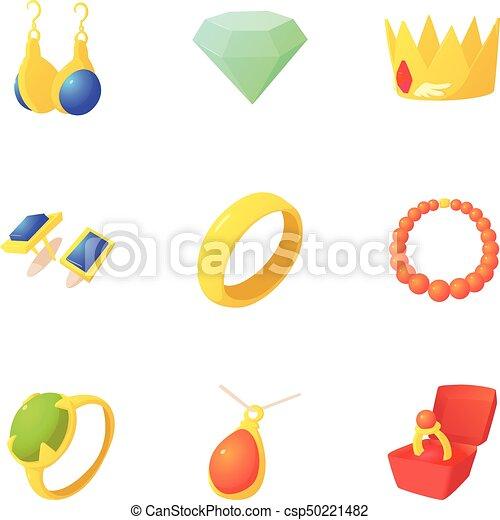 King jewelry icons set, cartoon style - csp50221482