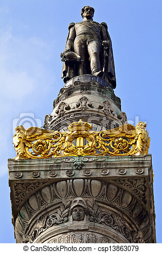 King Leopold I Statue on the Congress Column in Brussels. - csp13863079