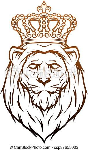King lion heraldic symbol. - csp37655003