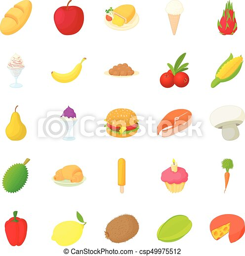 King of fruit icons set, cartoon style - csp49975512