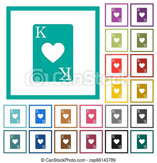 King of hearts card flat color icons with quadrant frames - csp66143789